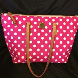 Dooney & Bourke Large Pink Polka Dot Tote EUC